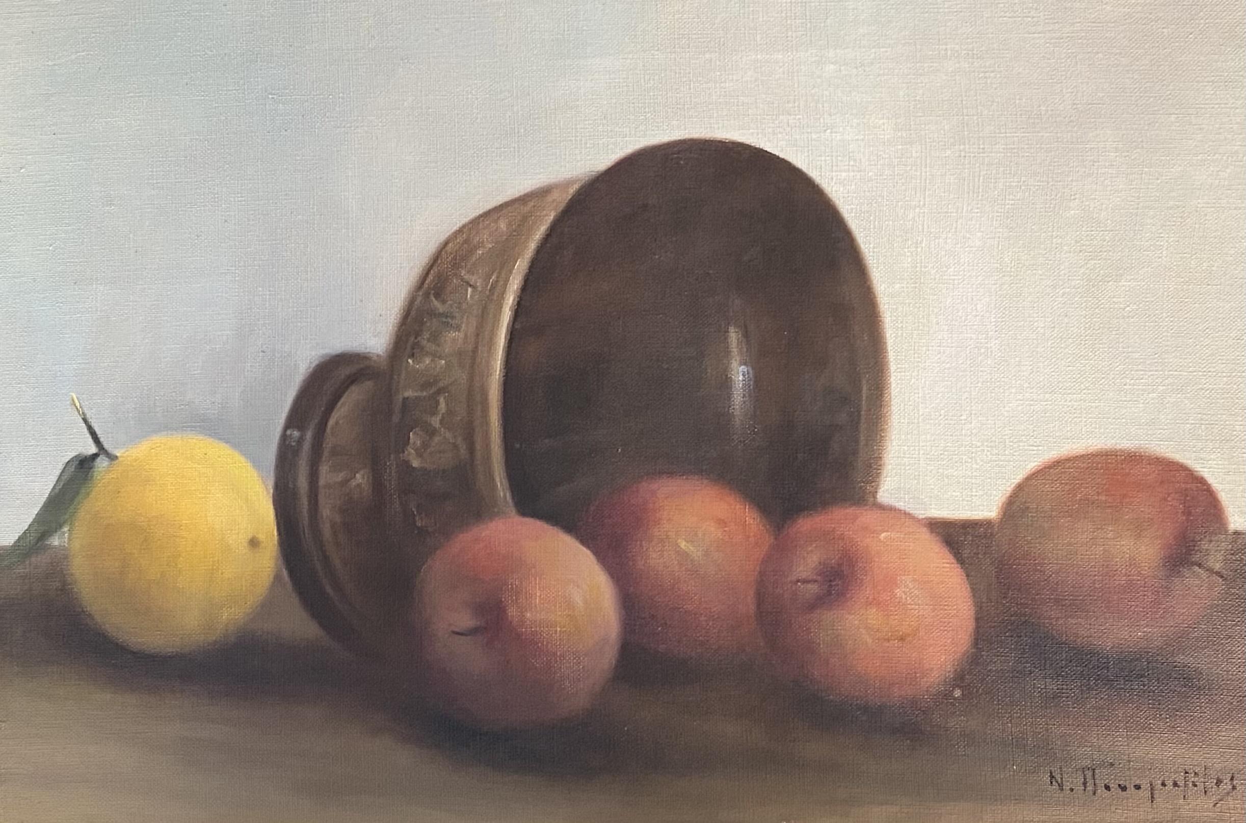 Nikos Panagiotatos (Greek, 1903 - 1983), Still life, oil on canvas, 33 x 48 cm. Loudos Auctions