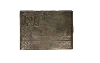 A c. 1900 silver cigarette case with monogram. It is stamped 900. 7.5 x 10.5 cm.