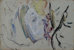 Anatoly Zverev (Russian, 1931-1986) (AR), gouache on paper, 38 x 57 cm.