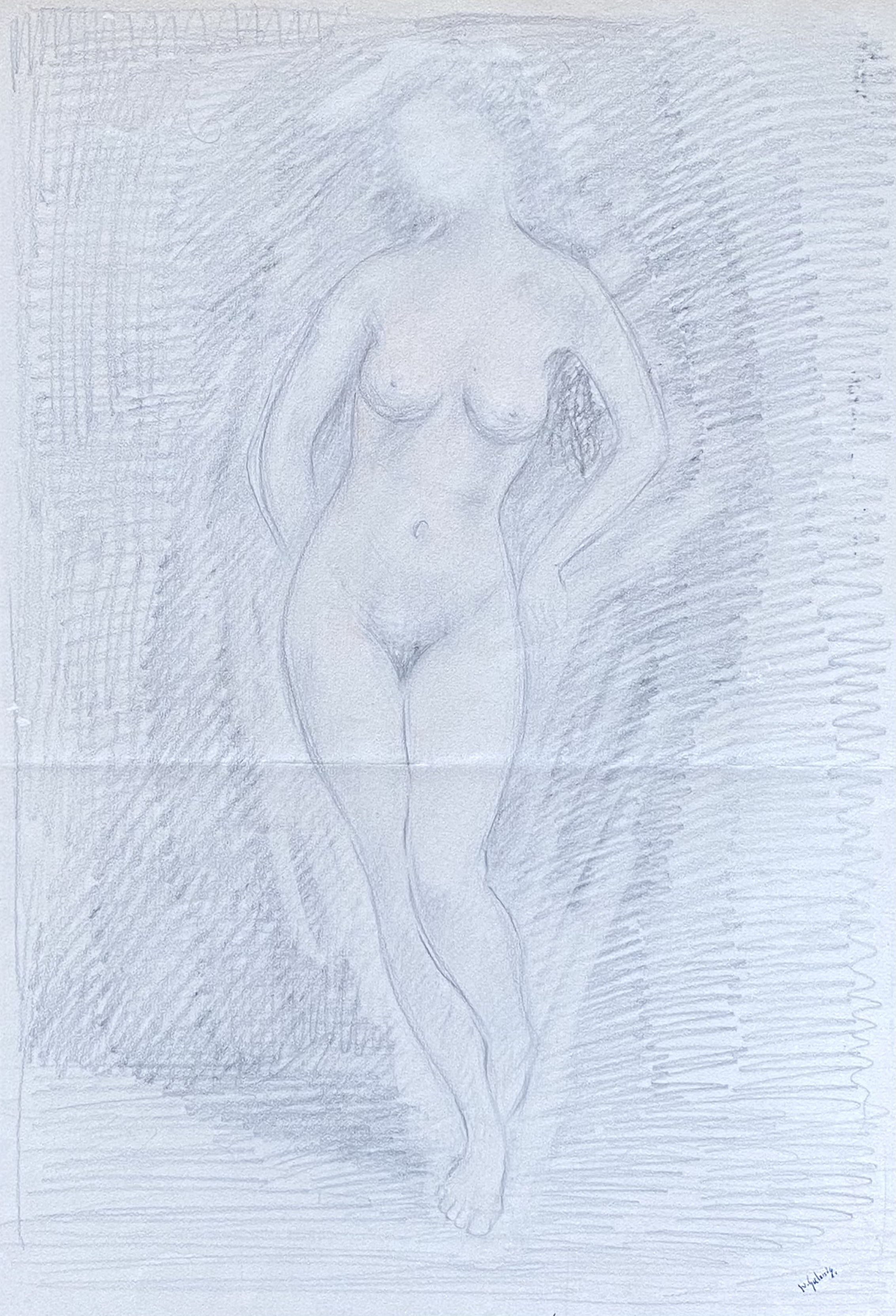 Dimitrios Galanis (Greek, 1880-1966) (AR), Nude, charchoal on paper, 53 x 37 cm.