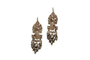 A pair of early 20th century Constantinople white gold earrings with diamonds