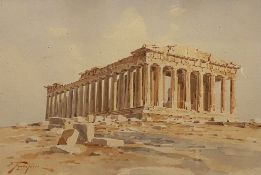 A watercolor on paper signed S. Prosalentis in Greek, Parthenon, Athens, Greece. 20 x 29 cm