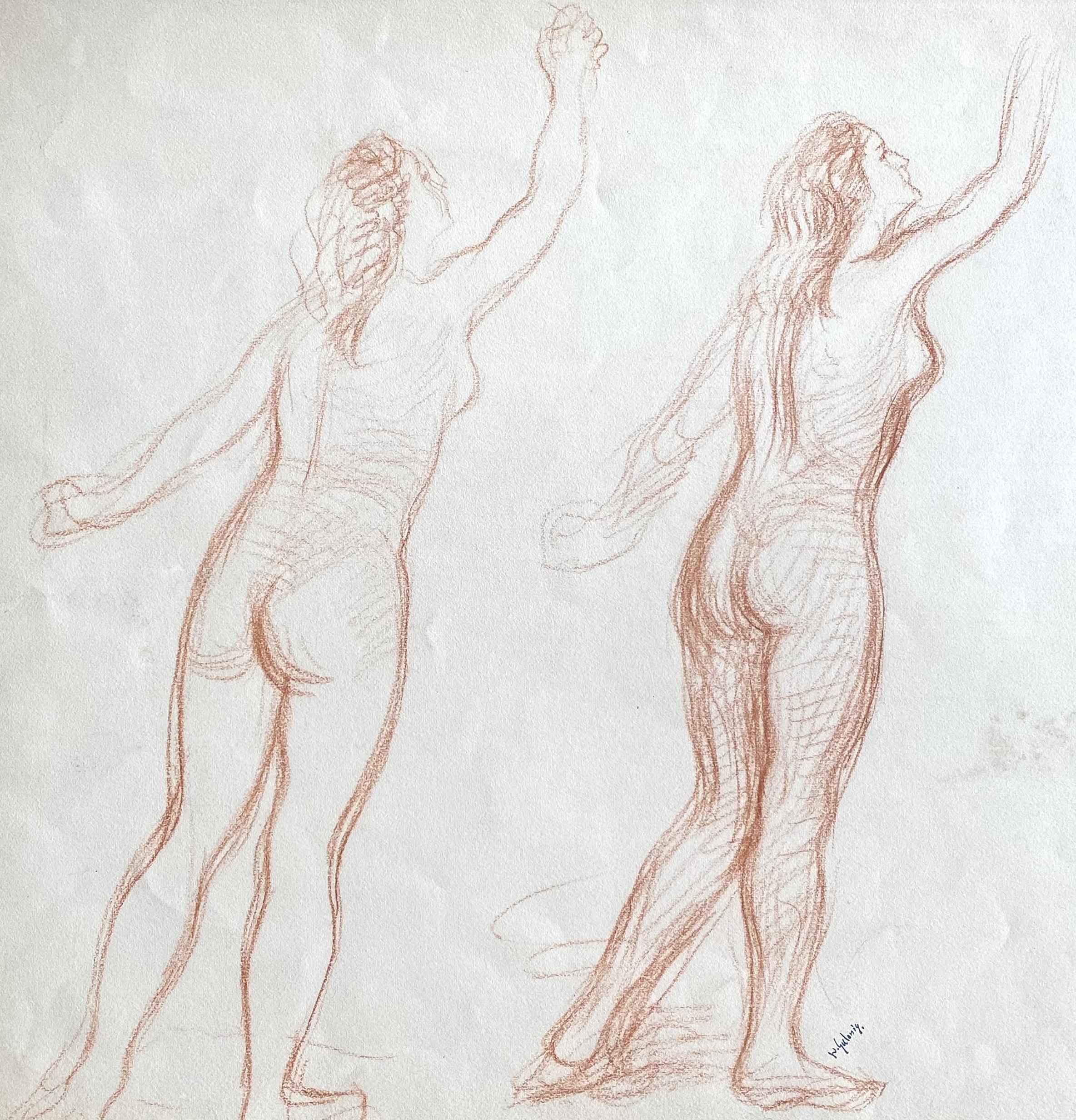 Dimitrios Galanis (Greek, 1880-1966) (AR), Two nude females, sanguine on paper, 43 x 41 cm.