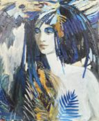 """""""Flower"""" de Suvorova Huile sur toile signé CM et Daté 2002 en bas à droite. Epoque [...]"""