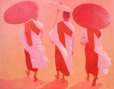 """""""Marche de moines Tibétains"""" de PREDA Peintre thailandais de Bangkok Huile sur toile [...]"""