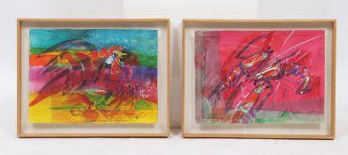 Paire de gouache de Michel Heintz (né en 1944) Artiste peintre Luxembourgeois, [...]