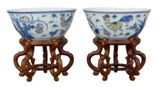 PAIR OF CHINESE DOUCAI PORCELAIN 'CHICKEN' CUPS, KANGXI PERIOD, 18th CENTURY