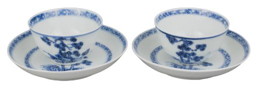 FINE PAIR OF CHINESE NANKING CARGO BLUE AND WHITE PORCELAIN CUPS & SAUCERS, 18th CENTURY
