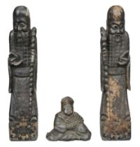 PAIR OF CHINESE CARVED SOAPSTONE FIGURES OF SHOU LAO, EARLY 20th CENTURY