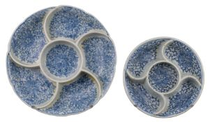 CHINESE BLUE AND WHITE PORCELAIN SWEETMEAT DISH AND ONE OTHER, DAOGUANG PERIOD, 19th CENTURY
