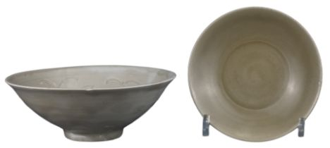 CHINESE CELADON BOWL AND LOTUS DISH, SONG DYNASTY