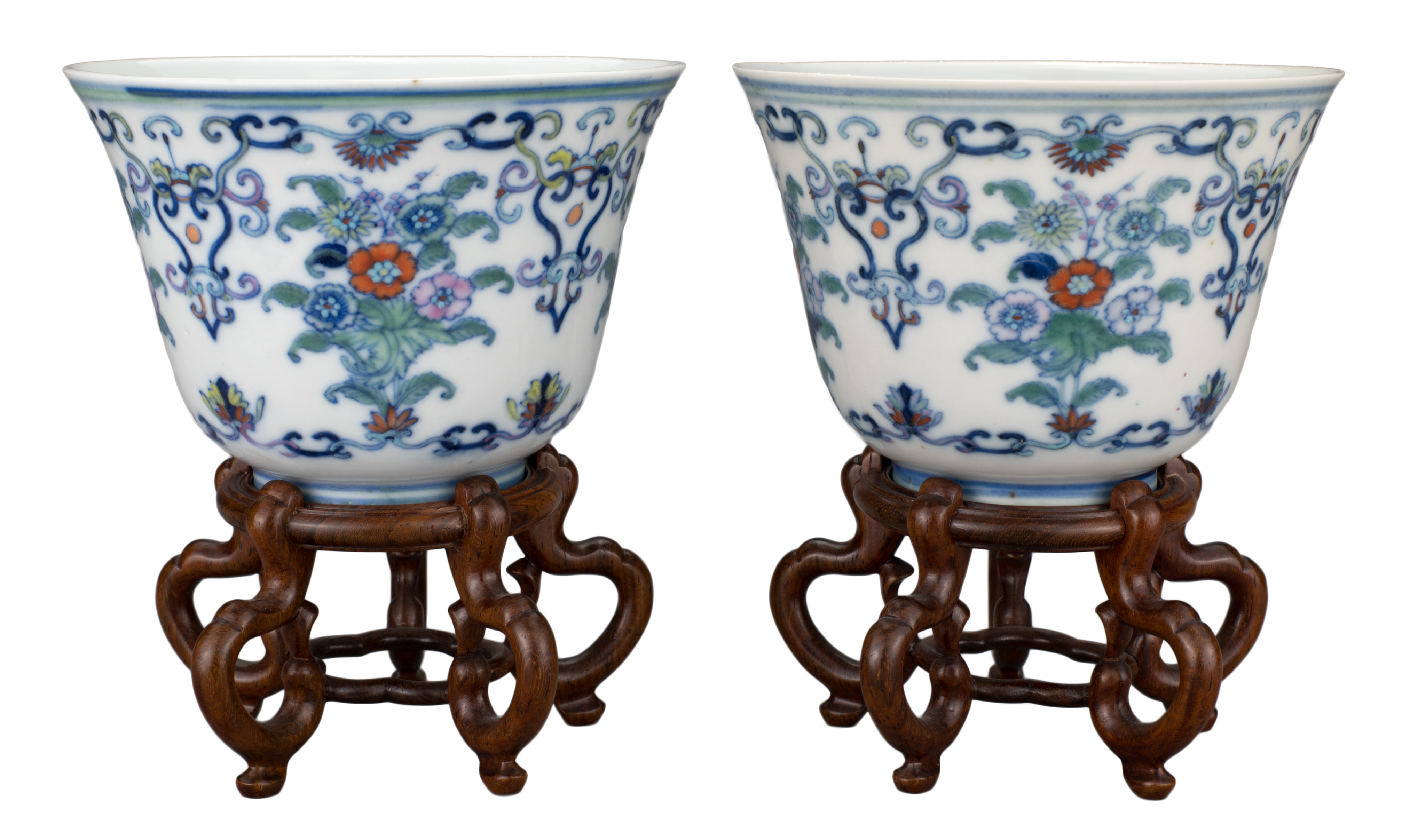 FINE PAIR OF CHINESE DOUCAI PORCELAIN WINE CUPS, YONGZHENG MARK AND PERIOD, 18th CENTURY