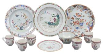 GROUP OF ELEVEN CHINESE FAMILLE ROSE EXPORT PORCELAIN, 18th CENTURY