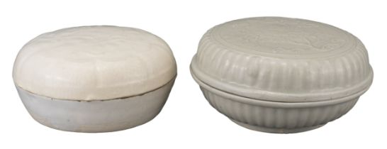 TWO CHINESE QINGBAI PORCELAIN COSMETIC BOX AND COVERS, SONG DYNASTY