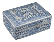 CHINESE BLUE AND WHITE PORCELAIN INK BOX AND COVER, JIAQING PERIOD, EARLY 19th CENTURY