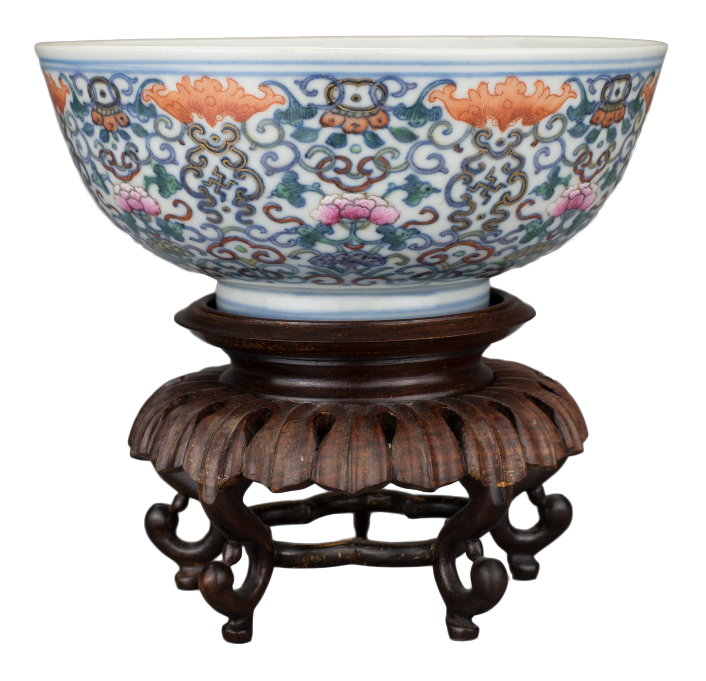 FINE CHINESE DOUCAI PORCELAIN BOWL, JIAQING MARK AND PERIOD, EARLY 19th CENTURY