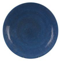 LARGE CHINESE BLUE GLAZED MONOCHROME PORCELAIN DISH, QIANLONG PERIOD, 18th CENTURY