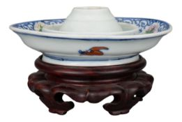 RARE CHINESE PORCELAIN OIL LAMP DISH, QIANLONG MARK AND PERIOD, 18th CENTURY