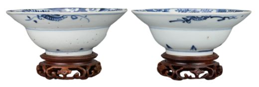 PAIR OF CHINESE BLUE AND WHITE PORCELAIN KLAPMUTS BOWLS, LATE MING DYNASTY, 17th CENTURY