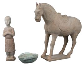 CHINESE TANG POTTERY HORSE AND FIGURE WITH HAN DYNASTY EAR CUP