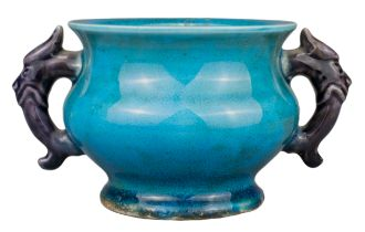 CHINESE TURQUOISE AND AUBERGINE GLAZED PORCELAIN CENSER, KANGXI PERIOD, 17/18th CENTURY