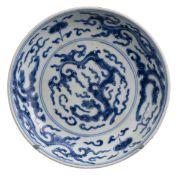 CHINESE BLUE AND WHITE PORCELAIN DRAGON DISH, YONGZHENG PERIOD, 18th CENTURY