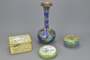 A CHINESE CLOISONNE VASE AND BOWL