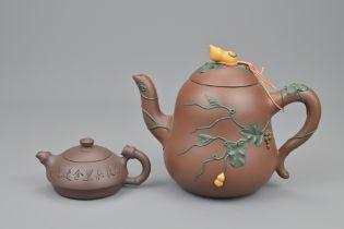TWO CHINESE YIXING TEA POTS