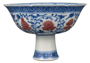 CHINESE UNDERGLAZE BLUE AND RED 'BAJIXIANG' PORCELAIN LOBED STEM CUP, QIANLONG MARK