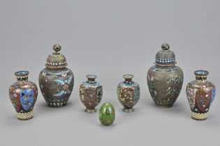 THREE PAIRS OF JAPANESE CLOISONNE ITEMS
