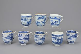 EIGHT CHINESE BLUE AND WHITE PORCELAIN COFFEE CUPS WITH HANDLES