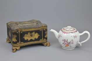 A CHINESE 19TH CENTURY LACQUER TEA CADDY