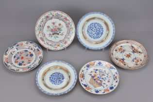 SIX CHINESE FAMILLE ROSE EXPORT PORCELAIN PLATES