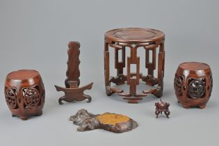 A GROUP OF CHINESE HARD WOOD STANDS