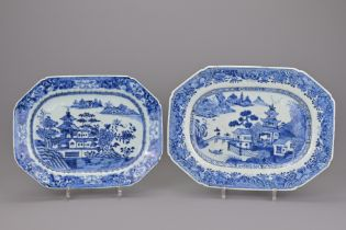 TWO 18TH CENTURY CHINESE BLUE AND WHITE PROCELAIN PLATTERS