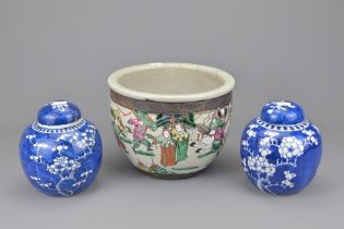 TWO CHINESE BLUE AND WHITE PORCELAIN LIDDED GINGER JARS