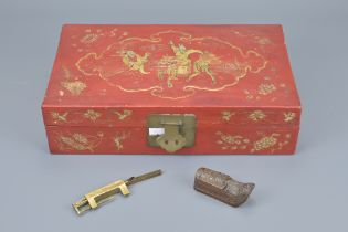 CHINESE RED LACQUER BOX WITH GILT PAINTING AND BRASS LOCK