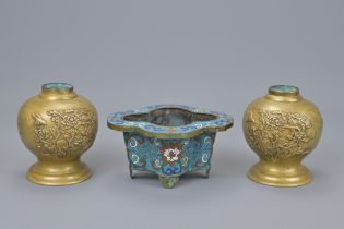 PAIR OF ASIAN BRASS LAMP BASES