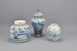Three Vintage Chinese Blue and White Porcelain Jar