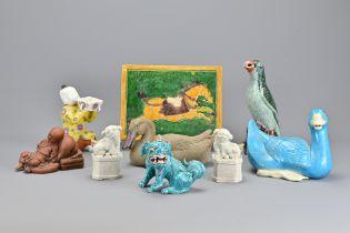 Nine Chinese Vintage Ceramic Items In Varying Anim