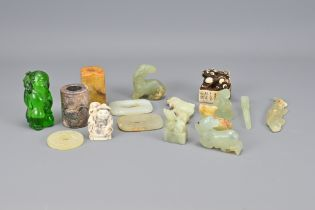 Fifteen Vintage Asian Carved Items