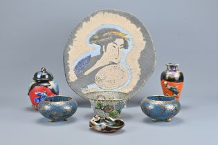 An Assortment Of Japanese Pottery and Cloisonne It
