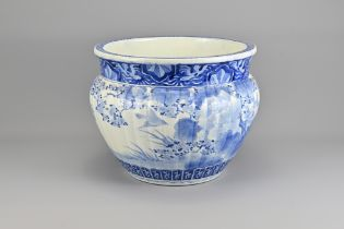 A Large Japanese Blue and White Porcelain Jardinie