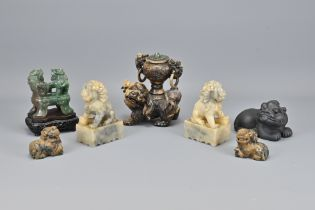 Six Various Carved Stone Items