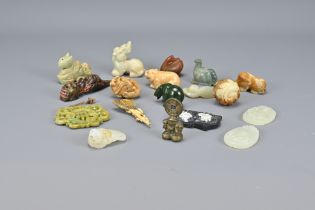 Eighteen Various Carved Stone Items