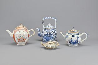 Four Various Oriental Porcelain Teapots
