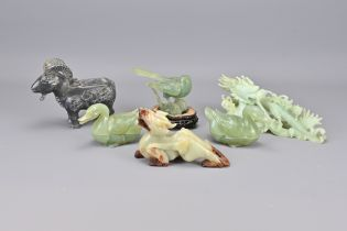 Six Various Vintage Chinese Carved Stone Items