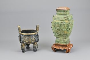 Two Vintage Chinese Bronze Items