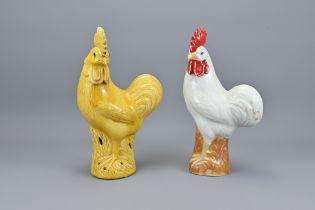 Two Vintage Chinese Porcelain Cockerels