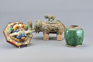 A Vintage Chinese Pottery Elephant and Jar
